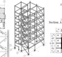ترسیم نقشه اجرایی سازه فولادی